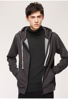 Casual 高磅保暖 刷毛連帽拉鍊外套-10155-麻花黑
