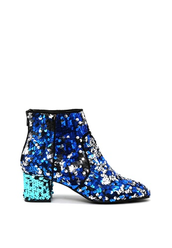 London Rag 藍色 彩虹色拉链踝靴 SH1543 6F542SH67BE38CGS_1