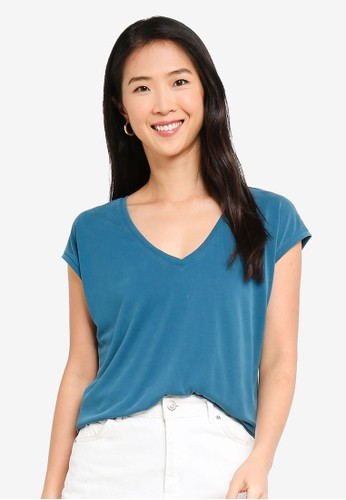 Vero Moda blue Filli V-neck Tee BF1CCAA11C5B72GS_1