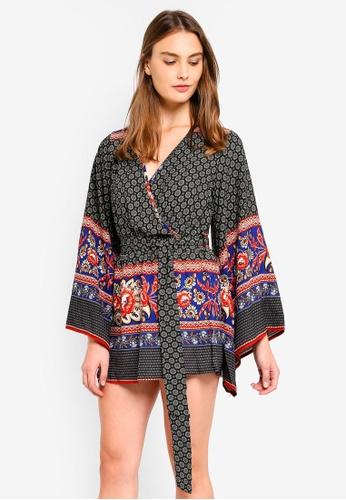 MISSGUIDED black Printed Kimono Sleeve Wrap Dress 7F45EAA38622E7GS_1