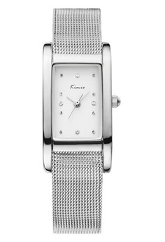 Kimio Rectangle Quartz Stainless Steel Mesh Strap Band Watch - White Dial