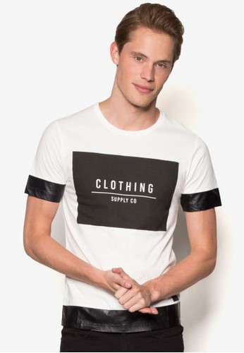 文字PU 拼接短袖esprit暢貨中心TEE, 服飾, 服飾