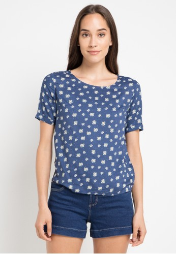 Logo Jeans blue and multi Polka Flower Blouse C7649AA175AABBGS_1