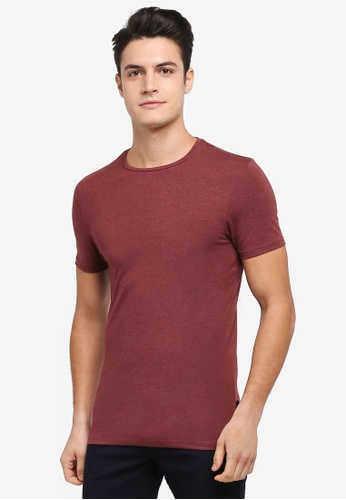 Burton Menswear London red Pomegranate Red Marl Muscle Fit T-Shirt 41372AAD9F8E30GS_1