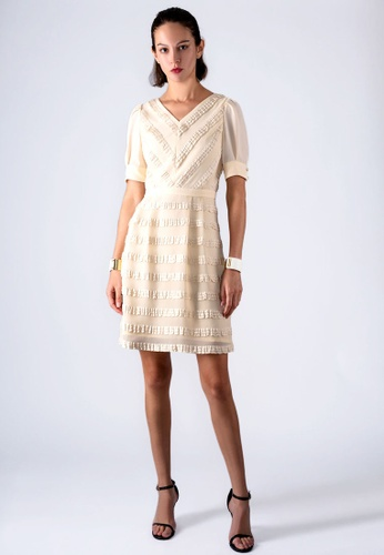 miss Viola beige RUFFLE-STRIPE DRESS 6A701AA8EB0572GS_1