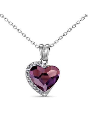 Her Jewellery silver Fond Love Pendant (Vintage Pink) - Made with premium grade crystals from Austria HE210AC0GFI4SG_1