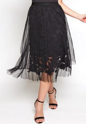 Nichii black Tulle Lace Midi Skirt 4D9DDAA567C310GS_1