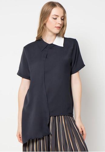 Magnificents Ladies navy Slayer Short Sleeve Blouse MA179AA61AMCID_1