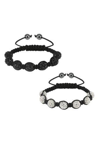 Her Jewellery black and white Shamballa Bracelet Set Bundle (Black + White) 04E62AC9C46D89GS_1