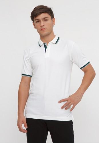 ALYCIA CLOTHING white Polo-Shirt Men List Green 76CD1AA177FDDAGS_1