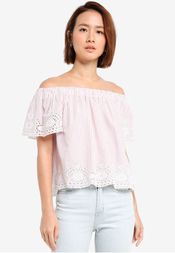 Dorothy Perkins pink Pink Stripe Embroidered Bardot Top 01335AA0B131FFGS_1