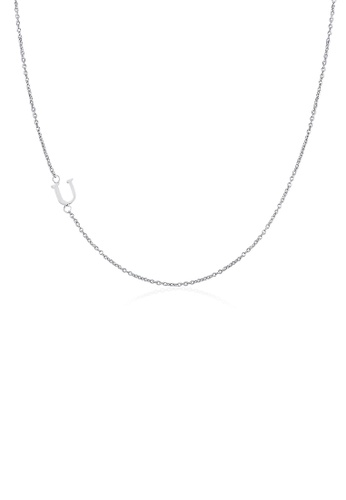 Moody Mood silver .925 Sterling Silver Sideway Letter U Necklace (18k white gold plating) D4697AC751AE0CGS_1
