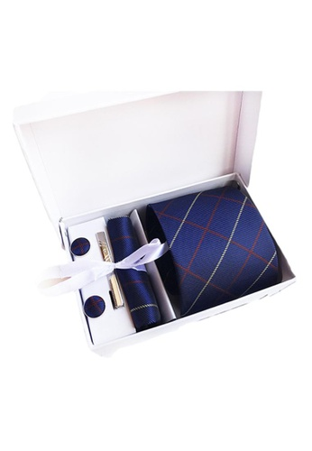 Kings Collection blue Blue Tie, Pocket Square, Cufflinks, Tie Clip 4 Pieces Gift Set (UPKCBT2100) CB5A1AC0A7B4F8GS_1