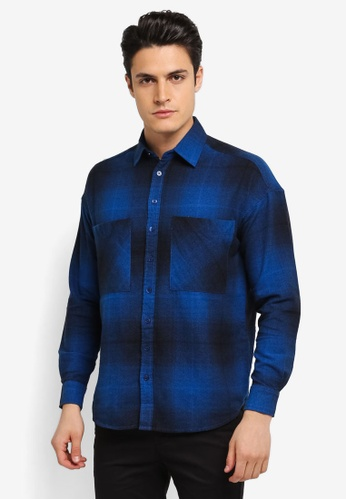 Topman blue Drop Shoulder Check Shirt TO413AA0SLY9MY_1