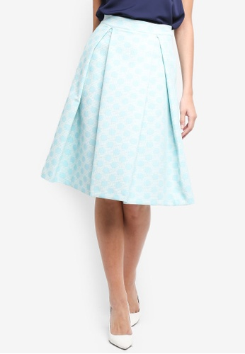 Vesper white and blue Vesper Orian Polka Dot Jacquard Full Skirt C3909AA72C5A9DGS_1