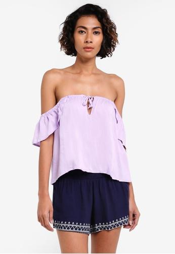 Factorie purple Marakesh Tie Front Short Sleeve Off Shoulder Top FA880AA0RPL1MY_1