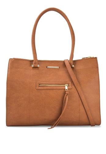 Dorothy Perkins brown Tan Zip Front Tote Bag DO816AC18DFDMY_1