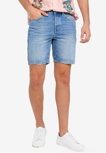 Topman blue Mid Wash Slim Fit Shorts 72A7CAA2955A03GS_1