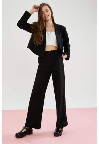 DeFacto black High Waist Wide Leg Trousers 12A66AA1D9A864GS_1