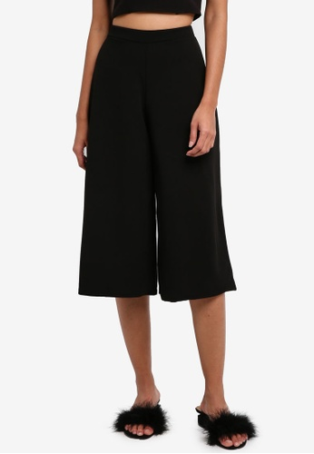 MISSGUIDED black Crepe Culottes 21509AAB78A613GS_1