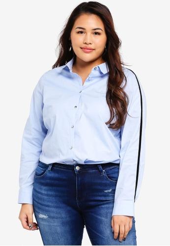 Only CARMAKOMA blue Plus Size Sesame Long Sleeve Shirt 14040AADA000BCGS_1