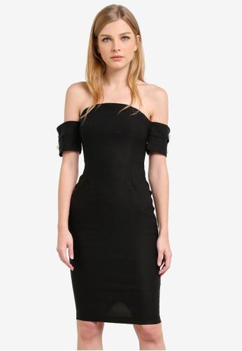 Vesper black Malika Bardot Pencil Dress With Buttons VE733AA0S791MY_1