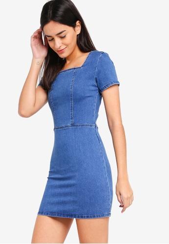 ZALORA blue Square Neck Bodycon Dress 2BA87AA2ACFB24GS_1