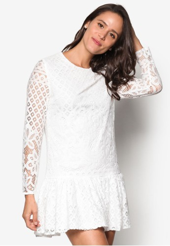蕾絲荷葉飾洋裝, 服飾,esprit 羽絨外套 洋裝