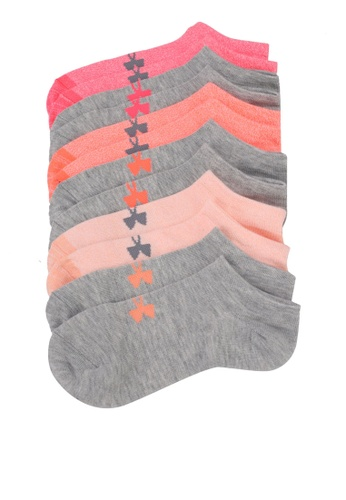 Under Armour grey and white and pink and multi Solid No Show Socks (6 Pack) UN337AC0SU7VMY_1