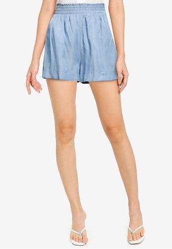 ZALORA BASICS blue Lightweight Paper Bag Shorts 58721AA2B10DB5GS_1