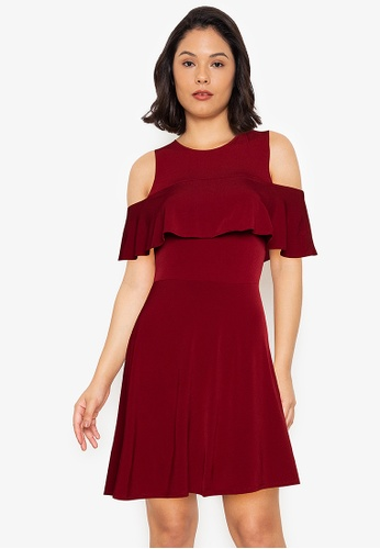 Ashley Collection red Cut-Out Sleeves Frills Skater Midi Dress A76E3AAD5AD049GS_1