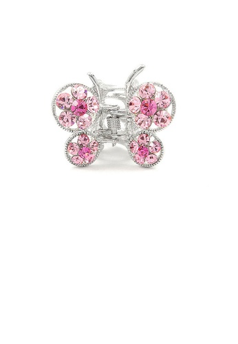 Glamorousky pink Butterfly Clamp in Pink Austrian Element Crystals 62D93ACCFAD39AGS_1