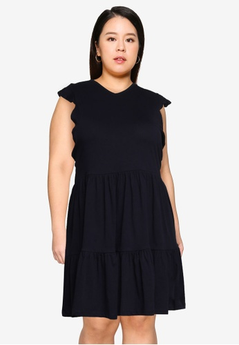 Only CARMAKOMA navy Plus Size April Frill Dress A8DEAAA268DFD9GS_1