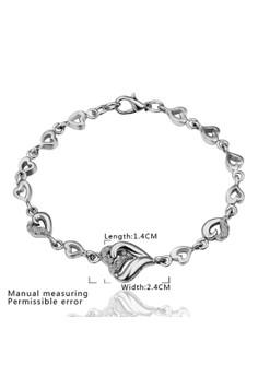 Treasure by B&D B047 Lover's Heart-to-Heart Chain Plated Czech Bracelet