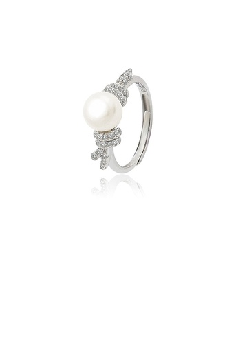 Glamorousky white 925 Sterling Silver Fashion Temperament Ribbon Freshwater Pearl Adjustable Ring with Cubic Zirconia 80796AC15286A4GS_1