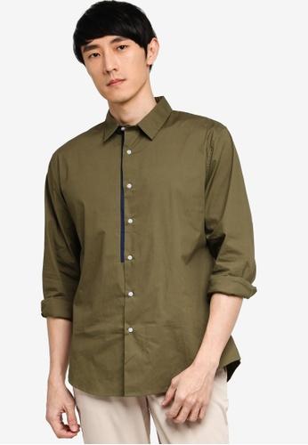 ZALORA BASICS green Placket Detail Long Sleeve Shirt 2B183AADB3F0A7GS_1