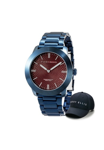 Perry Ellis red and blue Perry Ellis Slim Line Unisex 42mm Quartz Stainless Steel Watch 07006-02 with Perry Ellis Cap A9F94ACC51DB7CGS_1