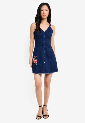 Shop ZALORA Denim Cami Dress With Floral Patch Online on ZALORA Philippines