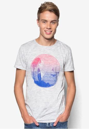落日海灘圖案T 恤,esprit taiwan 服飾, T恤