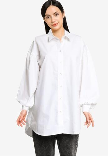 Noisy May 白色 Ariel 長版襯衫 5F776AA3E7CA1AGS_1
