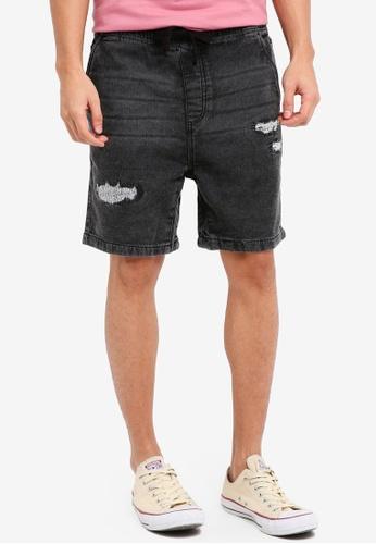 Factorie 黑色 The Knit Denim Shorts 0EB99AAFF853E1GS_1