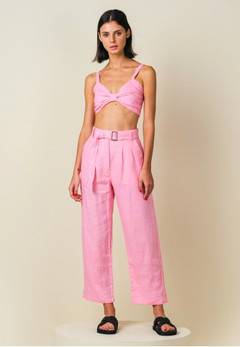 Earth Circus pink Amalfi Relaxed Fit Lightweight Linen Pant Milky Pink CC968AA15BBEDDGS_1
