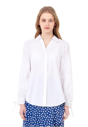VOV(Voice of Voices) white White Shirred Sleeeve Blouse D0AEEAAAD1528DGS_1