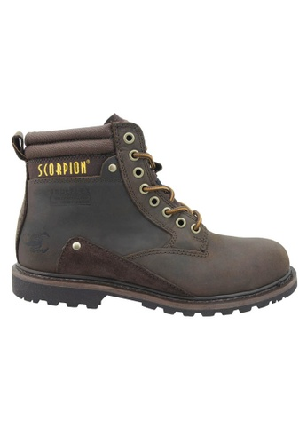 midzone brown Genuine Leather Steel Toe Safety Boots MI949SH05WJUMY_1