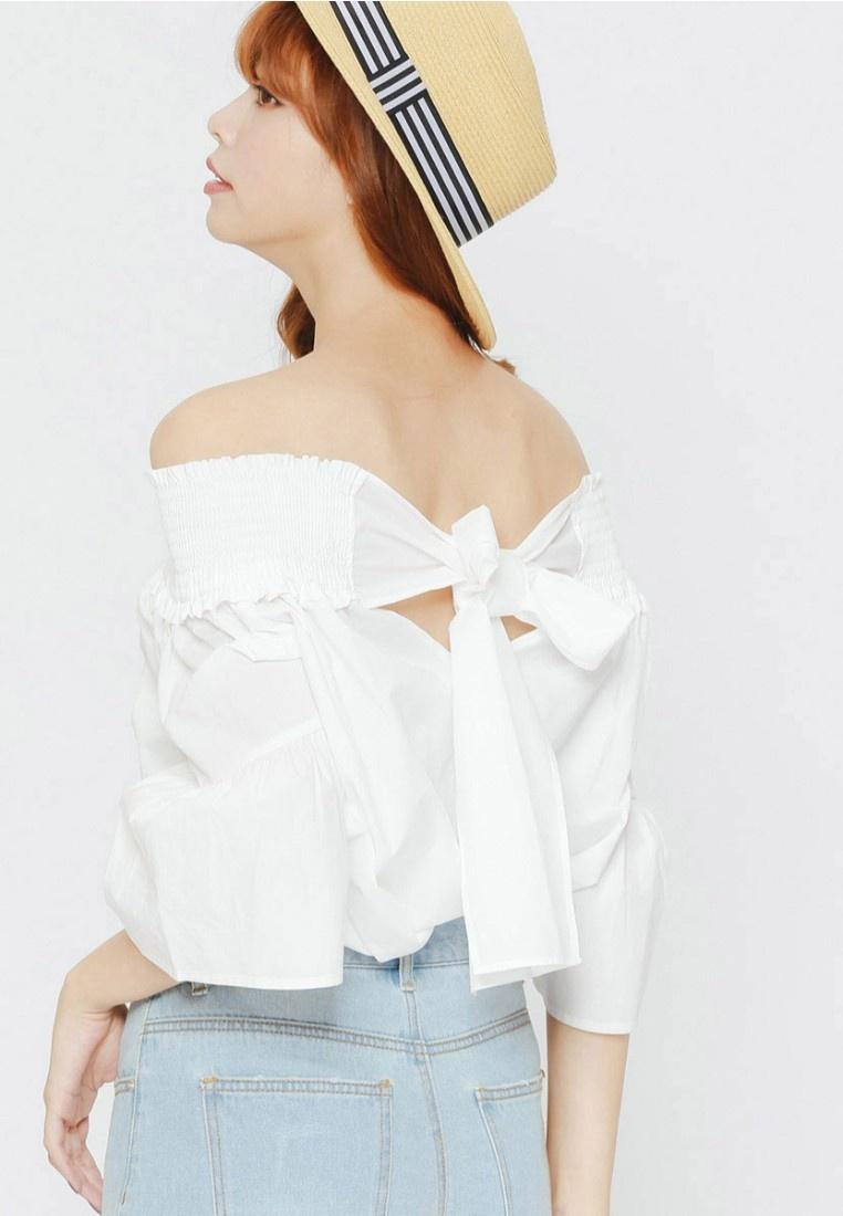 Top White Bow H Off shoulder CONNECT wq4c64RIg