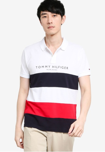 Tommy Hilfiger white Wcc Branded Colorblock Reg Polo Shirt 57874AA9DF7123GS_1