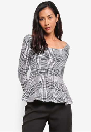 ZALORA BASICS black Basic Square Neck Peplum Top 0830CAA318678EGS_1
