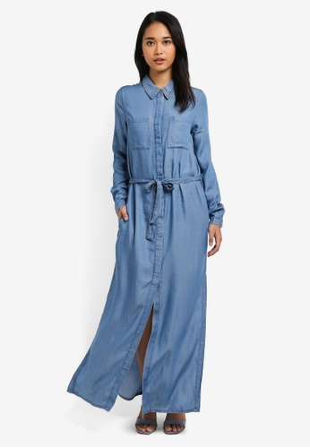 ONLY blue Leni Long Sleeve Denim Maxi Shirt Dress 65FAAAAE1FCCE7GS_1