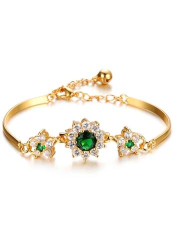 YOUNIQ gold YOUNIQ Premium Emerald GemStone 18K Plated Bracelet (Gold) E1C68AC3BD3346GS_1