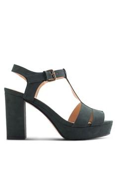【ZALORA】 鏤空繞踝帶粗跟厚底涼鞋